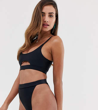 South Beach Recycled mix & match high waist & leg bikini bottom in black