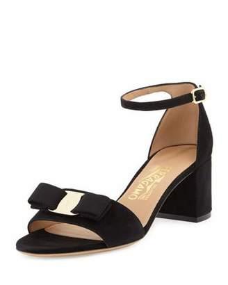 Salvatore Ferragamo Gavina Bow Suede City Sandal, Nero $550 thestylecure.com