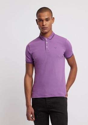 Emporio Armani Cotton Pique Polo Shirt With Contrasting Logo On Chest