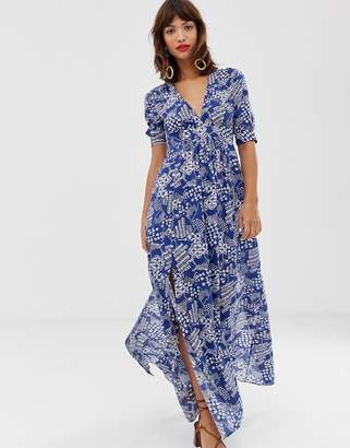 And other stories &  tie waist midaxi dress in blue coffee bean print