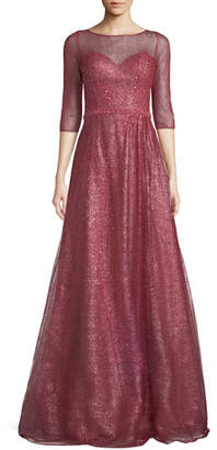Rene Ruiz Metallic Sweetheart Illusion Gown