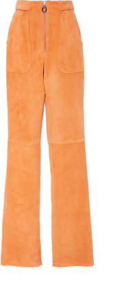 Sally LaPointe Suede Zip Front High-Rise Pants