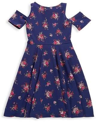 Un Deux Trois Girl's Solid Cold-Shoulder Dress