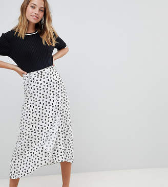 Asos DESIGN Petite wrap jacquard midi skirt in mixed floral and polka dot