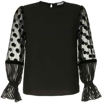 GUILD PRIME sheer polka-dot sleeve blouse