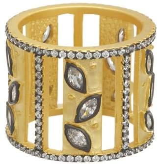 Freida Rothman 14K Gold & Rhodium Plated Sterling Silver CZ Fleur Bloom Open Leaf Cigar Band Ring - Size 5