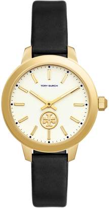 Tory Burch Collins Goldtone Stainless Steel Black Leather Strap Watch