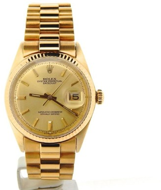 Rolex Datejust 1601 18K Yellow Gold With Gold Plated President Style Bracelet Mens Watch $5,888 thestylecure.com