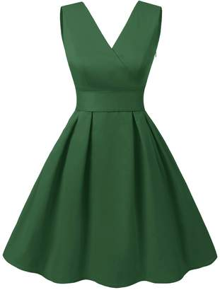 Dresstells reg; Vintage 1950s Solid Color V Neck with Bow Tie Retro Swing Dress L