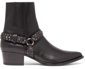 Studded Harness Leather Boots - Mens - Black