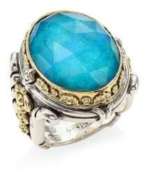 Konstantino Iliada Chrysocolla Doublet, Sterling Silver& 18K Yellow Gold Doublet Ring - Silver - Size 7