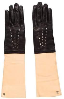 Chanel Bicolor Lambskin Gloves silver Bicolor Lambskin Gloves
