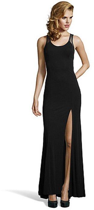 ABS by Allen Schwartz black stretch woven illusion mesh gown