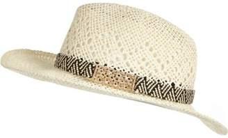 River Island Womens Cream straw fedora hat