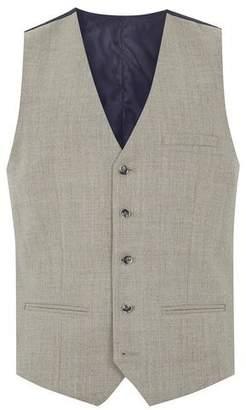 Topman Mens Brown Stone Merino Wool Blend Skinny Suit Vest