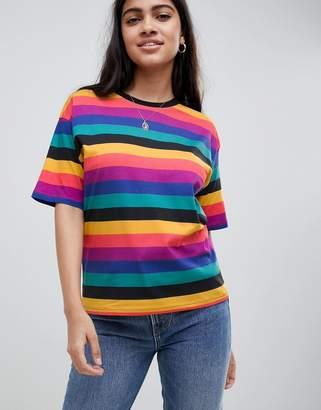 Asos DESIGN t-shirt in bright rainbow stripe