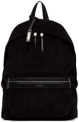 Saint Laurent black classic velvet corduroy backpack
