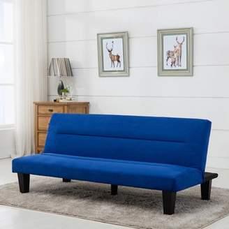 Belleze Convertible Sofa Adjustable Cushion Seat Futon Bed Legs Microfiber Sleeper, Blue