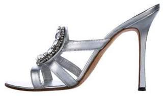 Manolo Blahnik Crystal Embellished Slide Sandals