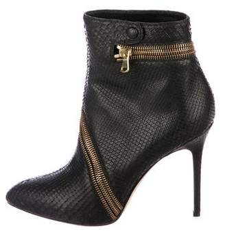 Brian Atwood Snakeskin Ankle Boots