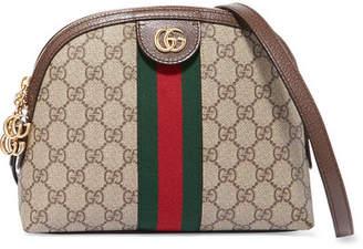 Gucci Ophidia Leather-trimmed Printed Coated-canvas Shoulder Bag - Beige