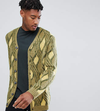 Asos TALL Mohair Wool Blend Cardigan With Vintage Design