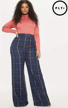 PrettyLittleThing Plus Navy Check Wide Leg Trouser