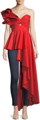 Johanna Ortiz Paso Doble One-Shoulder Peplum Side-Drape Cotton Poplin Top