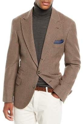 Brunello Cucinelli Men's Houndstooth Wool-Blend 3-Button Sport Jacket