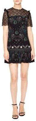 Sandro Royal Lions Gouet Embroidered Lace Mini Dress