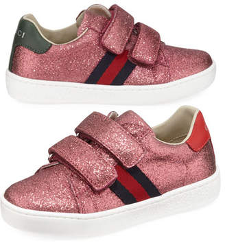 b43ff2a55 Gucci New Ace Web-Trim Glittered Sneakers, Baby/Toddler