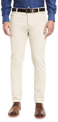 Kiton Washed Corduroy Five-Pocket Pants, Winter White