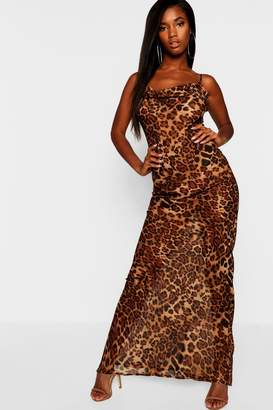 boohoo Leopard Mesh Maxi Dress