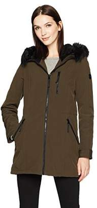 Calvin Klein Women's Softshell Stretch Anorak Jacket with Faux Fur Trimmed Hood