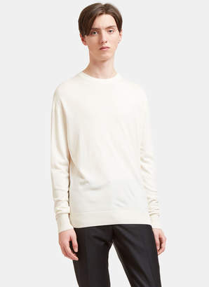 Aiezen AIEZEN Men's Cashmere and Silk Soft Knit Sweater in Milk