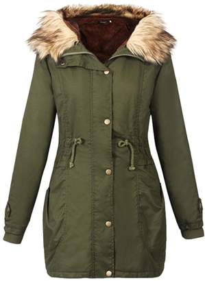 LINGMIN Women's Faux Fur Hooded Parka Jacket Winter Sherpa Lined Anorak Safari Coats