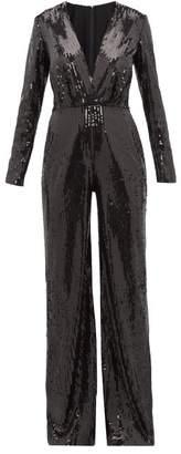 Elie Saab Sequinned Wide Leg Jumpsuit - Womens - Black