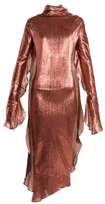 Paula Knorr - Relief Waterfall Ruffled Silk Blend Lame Dress - Womens - Gold