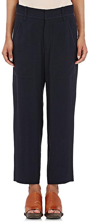 Chloé Chloé Women's Cady Wide-Leg Crop Trousers-Navy
