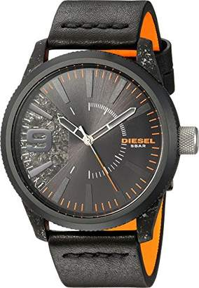 Diesel Men's Rasp IP and Leather Watch DZ1845