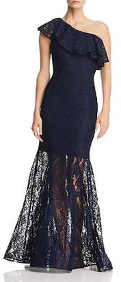 Avery G One-Shoulder Lace Gown
