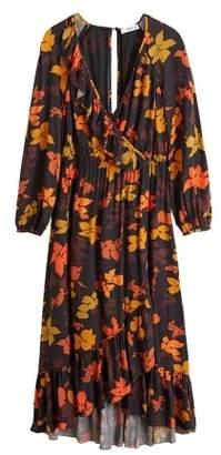 MANGO Embossed flower gown