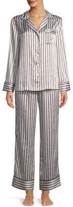 Neiman Marcus Two-Piece Candy Stripe Silk Pajama Set
