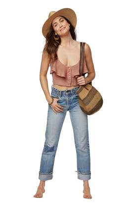 Rachel Pally Linen Ruffle Top - Maple Sugar