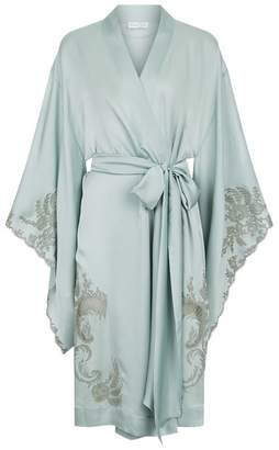Carine Gilson Silk Kimono Robe With Lace