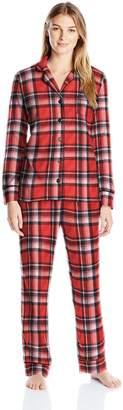 Carole Hochman Women's Packaged Notch Collar Microfleece Pajama Set