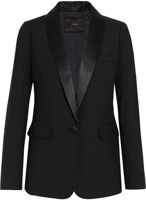 J.Crew - Hugh Satin-trimmed Wool Blazer - Black $260 thestylecure.com