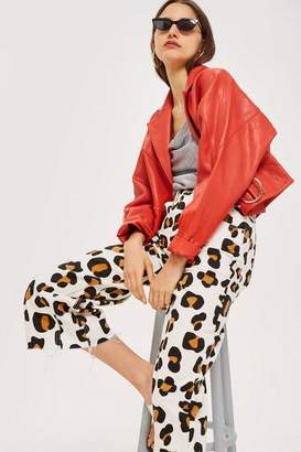 Topshop MOTO Animal Print Cropped Wide Leg Jeans