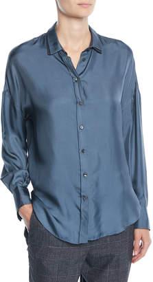 Brunello Cucinelli Button-Front Long-Sleeve Silk-Twill Blouse w/ Monili Under-Collar