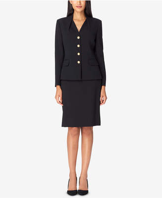 Tahari ASL Reverse-Pleat Skirt Suit